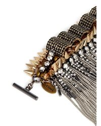 Venna | Metallic Spike Edge Metal Fringe Cuff | Lyst