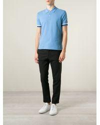 Moncler Gamme Bleu - Blue Logo Embroidered Polo Shirt for Men - Lyst
