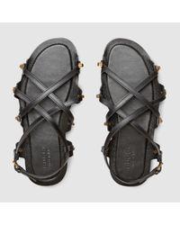 Gucci - Black Caballero Leather Lug Sole Sandal - Lyst