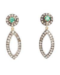 Socheec | Green Diamond And Emerald Open Drop Earrings | Lyst
