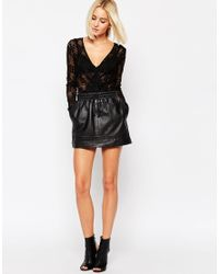 Just Female - Black Audrey Body In Lace - Lyst