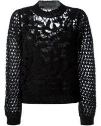 Alberta Ferretti | Black Open Knit Sweater | Lyst