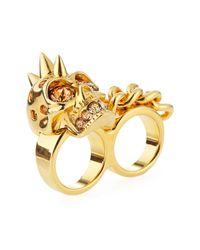 Alexander McQueen | Metallic Skull & Chain Two-finger Ring | Lyst