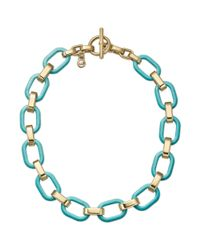 Michael Kors - Blue Goldtone and Turquoise Link Toggle Necklace - Lyst