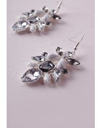 Missguided | Metallic Crystal & Marble Statement Earrings | Lyst