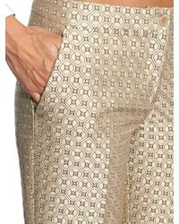 Etro | Metallic Geometric-jacquard Slim-leg Cropped Trousers | Lyst