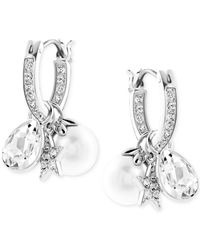 Swarovski | White Rhodium-plated Imitation Pearl And Crystal Cluster Drop Earrings | Lyst
