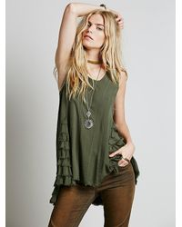 Free People - Green Womens Ruffled Up Cami - Lyst