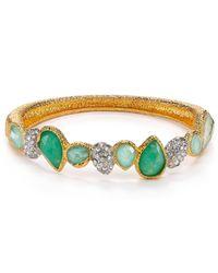 Alexis Bittar - Green Amazonite Chalcedony Crystal Hinge Bangle - Lyst