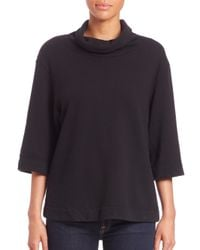 James Perse | Black Oversized Funnelneck Top | Lyst