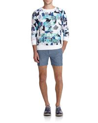 Maison Kitsuné - Blue Bermuda Linen & Wool Shorts for Men - Lyst