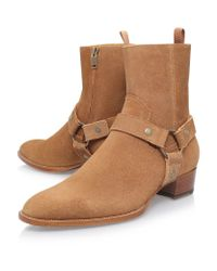 Saint Laurent - Brown Wyatt Suede Harness Ankle Boot - Lyst