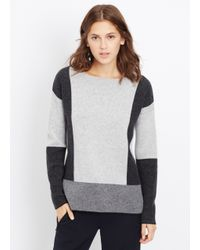Vince | Black Wool Cashmere Intarsia Colorblock Sweater | Lyst