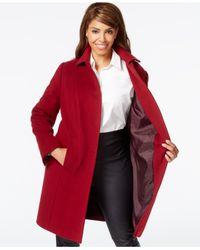 Anne Klein | Red Plus Size Wool-cashmere Walker Coat | Lyst