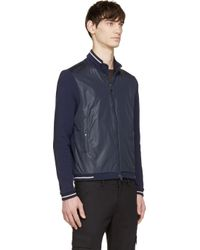 Moncler - Blue Navy Nylon And Jersey Zip_Up Sweater for Men - Lyst
