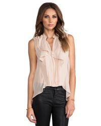 Robert Rodriguez - Pink Pleated Silk High Low Top in Blush - Lyst