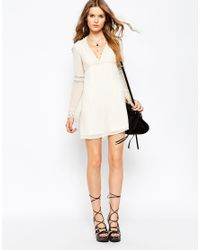 ASOS | Natural Skater Dress With Lace Inserts And Fluted Sleeve | Lyst