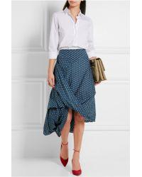 Vivienne Westwood Anglomania - Blue Draped Floral-print Cotton-poplin Skirt - Lyst