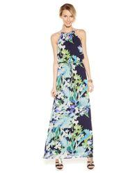 Vince Camuto - Multicolor Floral-print Halter Maxi Dress - Lyst