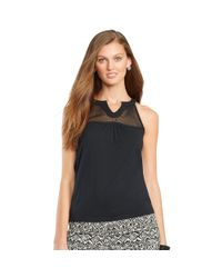 Ralph Lauren | Black Mesh-yoke Cotton Tank | Lyst