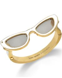 Kate Spade | Metallic 12K Gold-Plated White Sunglasses Bangle Bracelet | Lyst