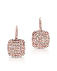 Anne Sisteron - Pink 14kt Rose Gold Diamond Cushion Earrings - Lyst