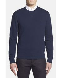 Burberry Brit | Blue 'claridge' Trim Fit Crewneck Sweater for Men | Lyst