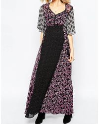 ASOS | Multicolor Maxi Dress In Mixed Print With Tie Front | Lyst