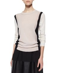 Vince - Black Two-tone Knit Cashmere Sweater - Lyst