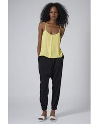 TOPSHOP - Yellow Button Front Strappy Cami - Lyst