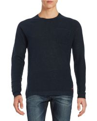 Strellson   Blue Solid Relaxed-fit Merino Wool Sweater for Men   Lyst