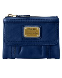 Fossil | Blue Emory Leather Multifunction Wallet | Lyst