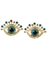 Betsey Johnson - Green Gold-tone Glass Stone And Enamel Eye Stud Earrings - Lyst