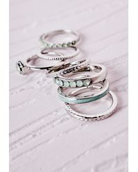 Missguided - Metallic Contrast Stacking Ring Set Silver - Lyst