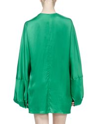 Stella McCartney - Green Gathered Satin Dolman-sleeve Dress - Lyst