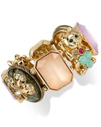 Betsey Johnson - Multicolor Gold-Tone Lucky Cat Stretch Bracelet - Lyst