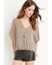 Forever 21 - Brown Surplice V-neck Top - Lyst