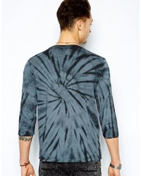 ASOS | Gray Three Quarter Sleeve T-Shirt with Tie Dye and Star Print for Men | Lyst