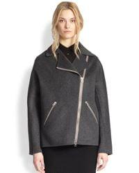 Acne Studios Gray Envier Double Wool & Cashmere Oversized Cocoon Biker Jacket