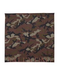Valentino - Brown Printed Silk Scarf - Lyst