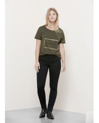 Violeta by Mango - Green Message Cotton T-shirt - Lyst