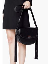 Mango | Black Fringed Cross-body Bag | Lyst