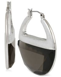 Kenneth Cole | Metallic Silver-tone Faceted Hoop Earrings | Lyst