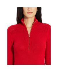 Ralph Lauren - Red Cotton Mockneck Sweater Dress - Lyst