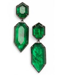Kendra Scott | Green 'perla' Drop Earrings - Gunmetal/ Emerald Glass | Lyst