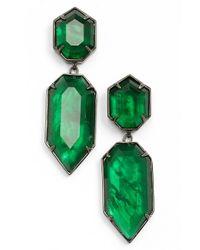 Kendra Scott | Green 'perla' Drop Earrings - Gunmetal/ Emerald Glass | Lyst