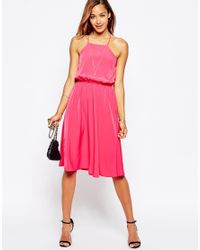 ASOS   Pink Open Cross Back Midi Dress   Lyst