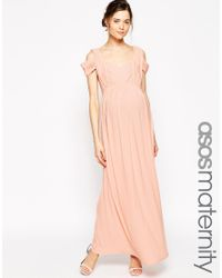 ASOS - Natural Maternity Wedding Maxi Dress With Cold Shoulder - Lyst