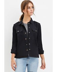 Forever 21 - Black Collared Utility Jacket - Lyst