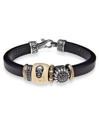 Platadepalo | Black Canalla Leather & Silver Bracelet Skull Design | Lyst